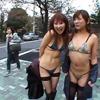 【ジャネス】街中で公開ゲリラプレイでレズる露出好きな女たち #003